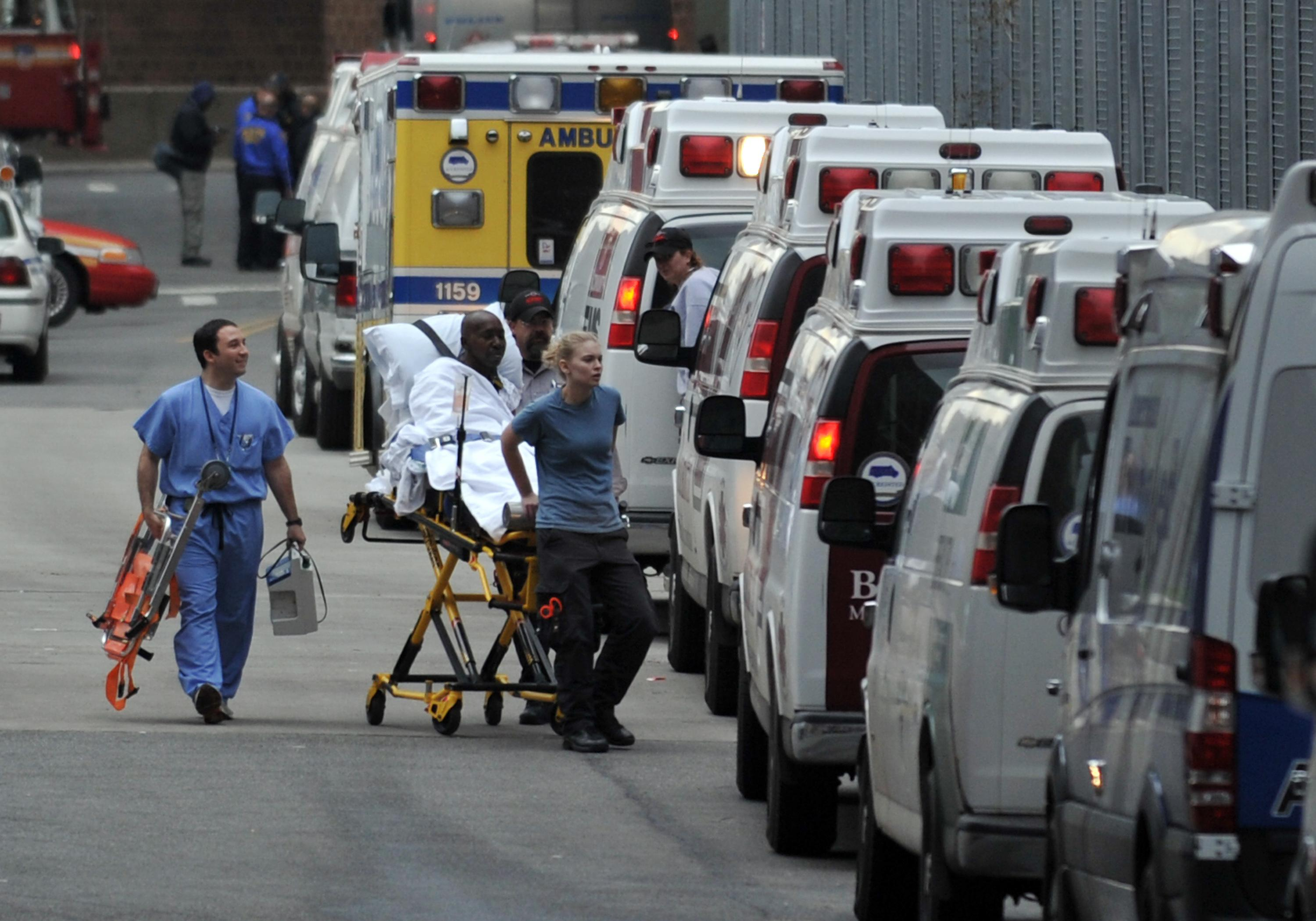 A patient is evacuated from Bellevue Hospital on October 31, 2012 in New York.