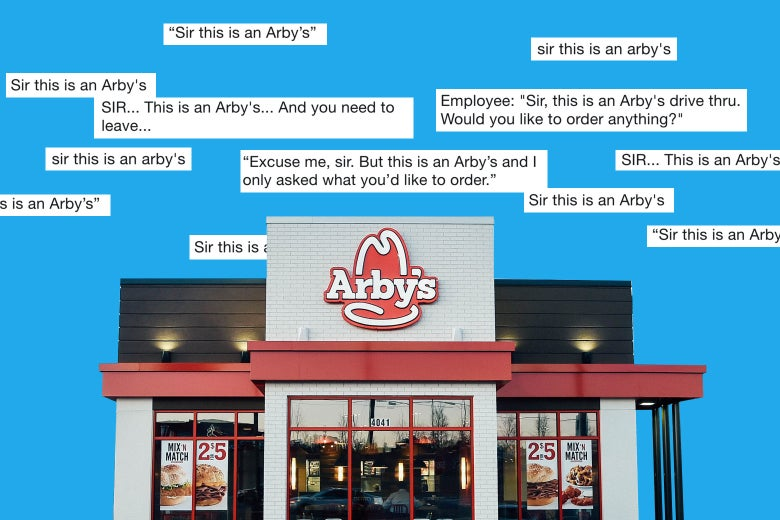 An Arby's storefront with tweets surrounding it