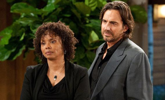 Debbi Morgan and Thorsten Kaye in a recent episode of All My Children.