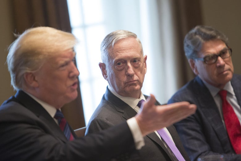 WASHINGTON, DC - APRIL 3: (AFP-OUT) U.S. Defense Secretary James Mattis (C) and Energy Secretary Rick Perry (R) listen to President Donald Trump speak during a luncheon with the leaders of Estonia, Latvia and Lithuania on April 3, 2018 at The White House in Washington, DC. The President answered questions from the media about a wide range of issues including illegal immigration from Mexico and relations with Russia. (Photo by Chris Kleponis-Pool/Getty Images)