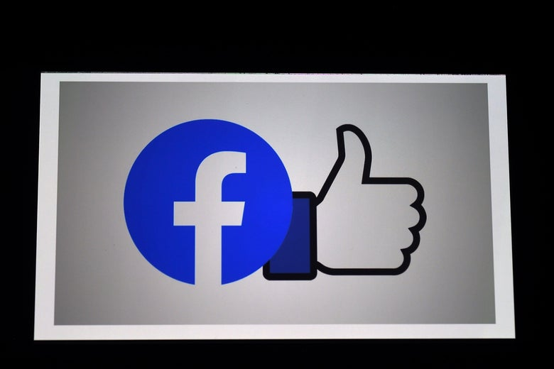 Facebook logo and a Facebook thumbs-up.