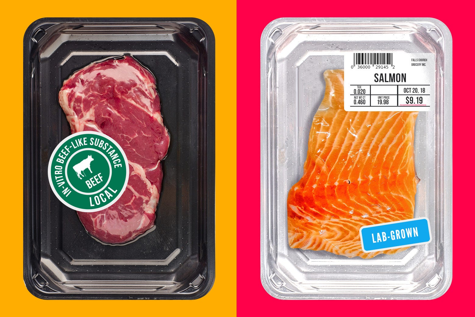 """A package of beef labeled """"in-vitro beef-like substance"""" and a package of salmon labeled """"lab-grown."""""""
