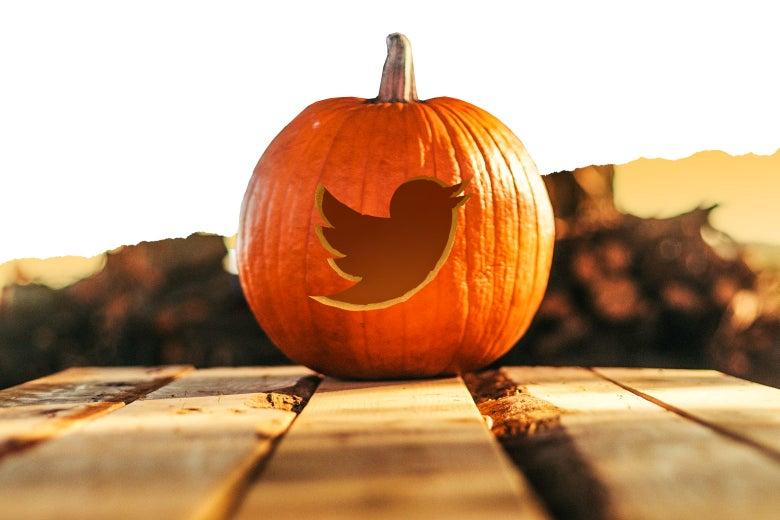 A pumpkin with the Twitter bird logo cut into it.