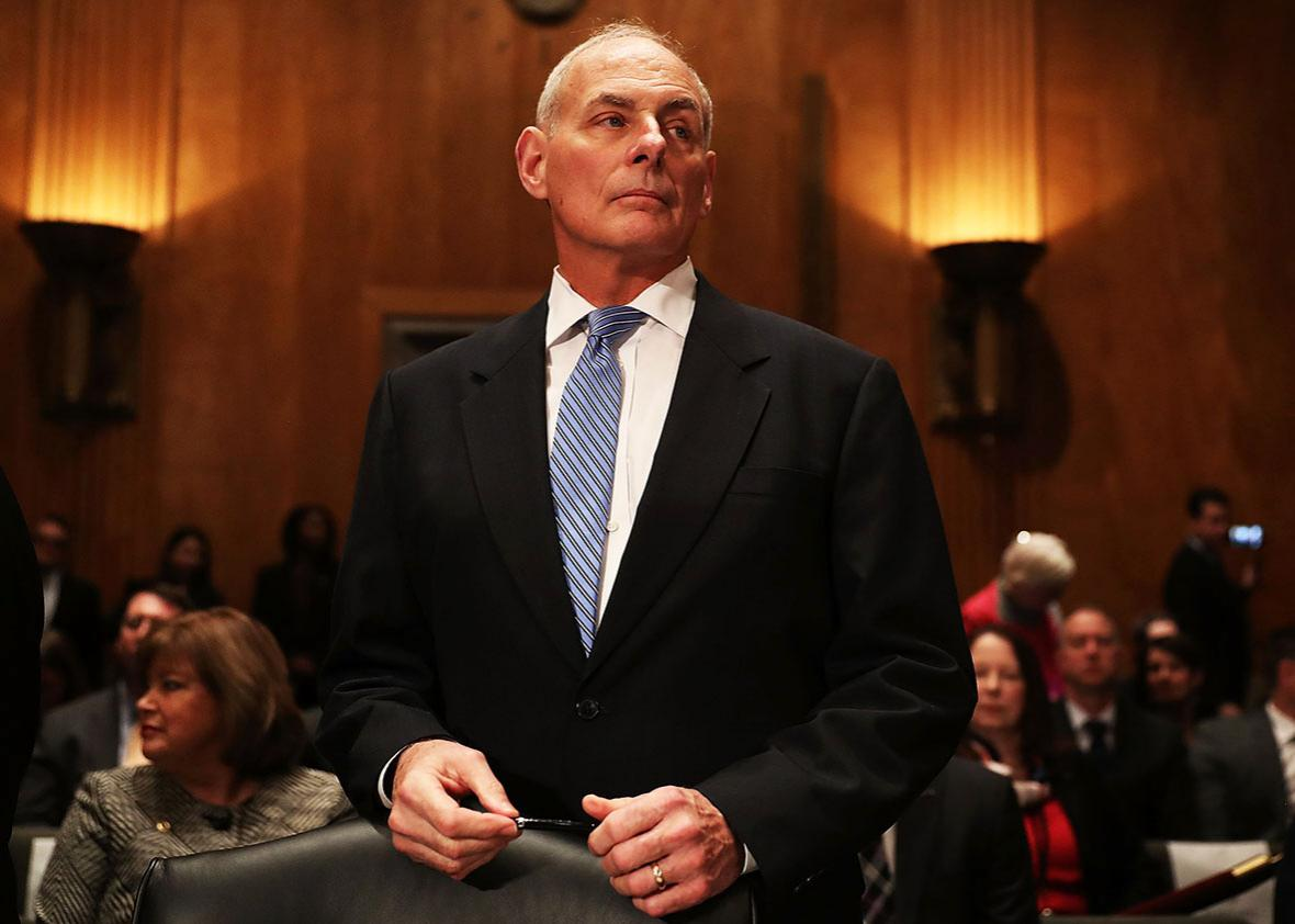 Retired Marine Gen. John Kelly attends his confirmation hearing in front of the Senate Homeland Security and Governmental Affairs Committee to run the Department of Homeland Security on January 10, 2017 in Washington, DC.