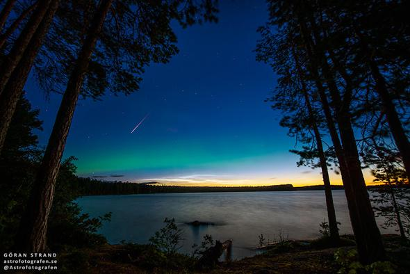 Astrophotograph: Perseids and the aurora.