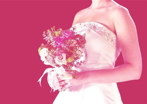 Strapless wedding dress.