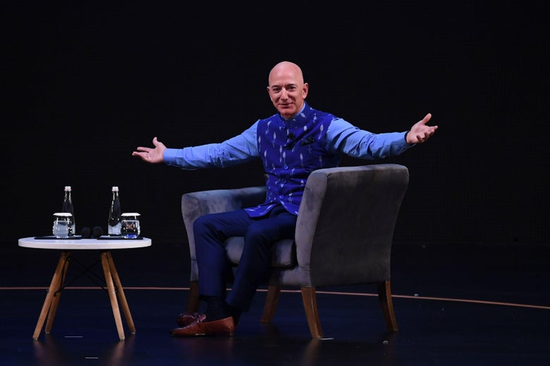 CEO of Amazon Jeff Bezos gestures during the Amazon's annual Smbhav event in New Delhi on Jan. 15, 2020.