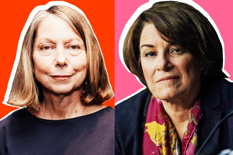 Side-by-side photo illustrations of Jill Abramson and Minnesota Sen. Amy Klobuchar