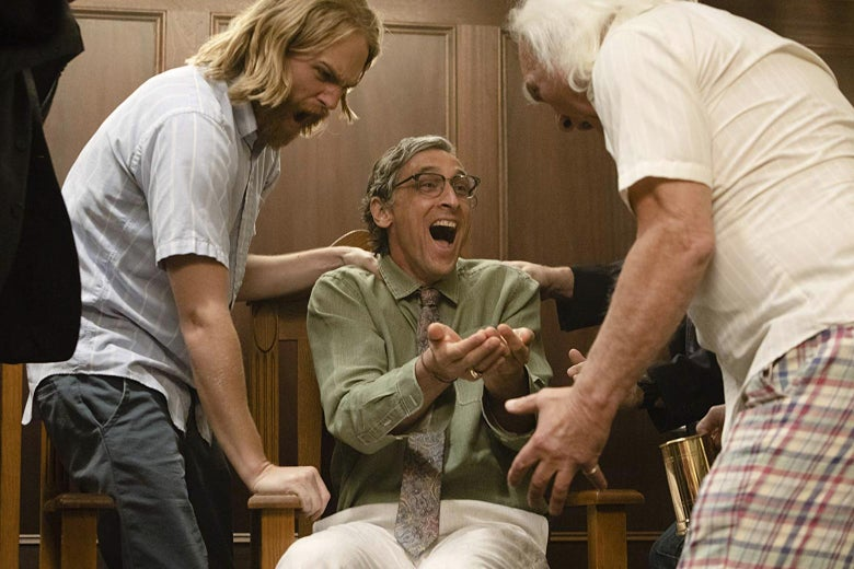 Wyatt Russell as Dud, David Pasquesi as Blaise, and Kenneth Welsh as Larry in a scene from Lodge 49. All appear to be yelling.