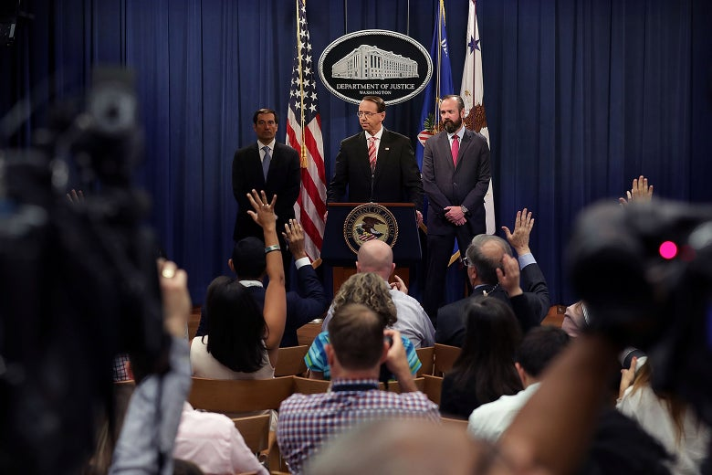 U.S. Deputy Attorney General Rod Rosenstein holds a news conference at the Department of Justice.