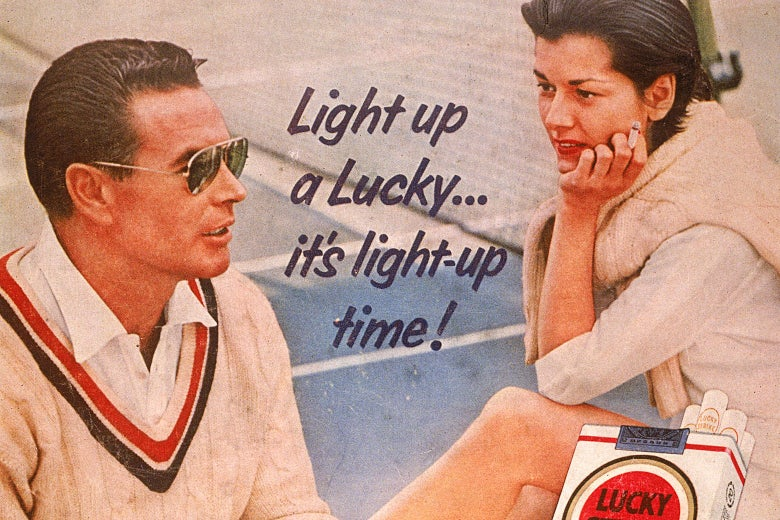A 1955 print ad for Lucky Strike cigarettes