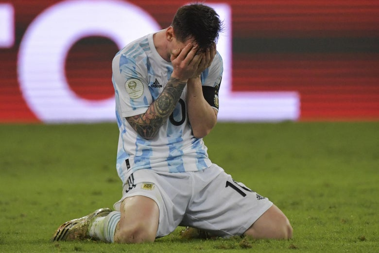 Argentina's Lionel Messi reacts in celebration after winning the Conmebol 2021 Copa America football tournament final match against Brazil at Maracana Stadium in Rio de Janeiro, Brazil, on July 10, 2021.