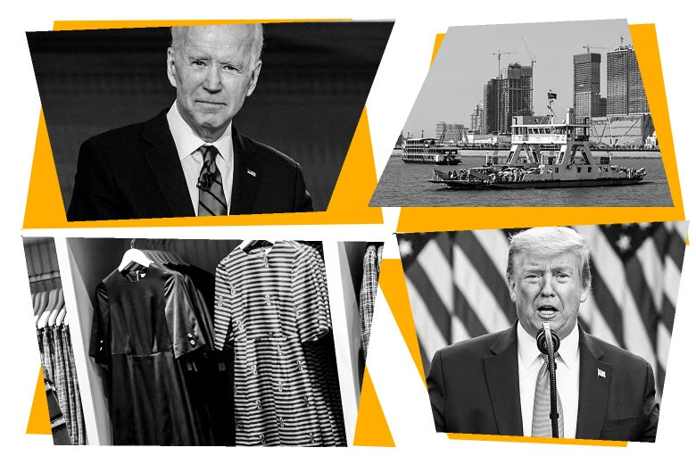 Photo collage of Joe Biden, a ferry, dresses on hangers, and Donald Trump.