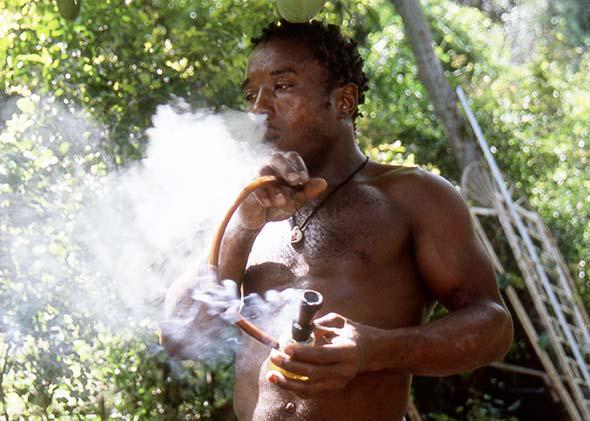 A man smoking marijuana in Kingston, Jamaica, June 2005.