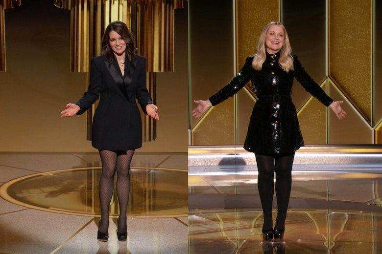 Tina Fey and Amy Poehler introduce awards at the Golden Globes.