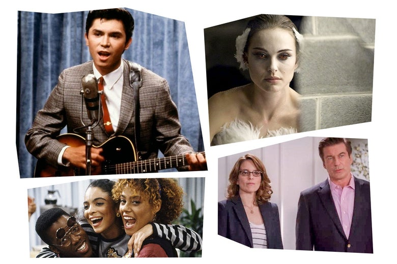 Stills of Lou Diamond Phillips playing guitar and leaning into a microphone; Natalie Portman in a mirror wearing white face paint; Jasmine Guy, Kadeem Hardison, and Cree Summer embracing; Tina Fey and Alec Baldwin standing side by side.