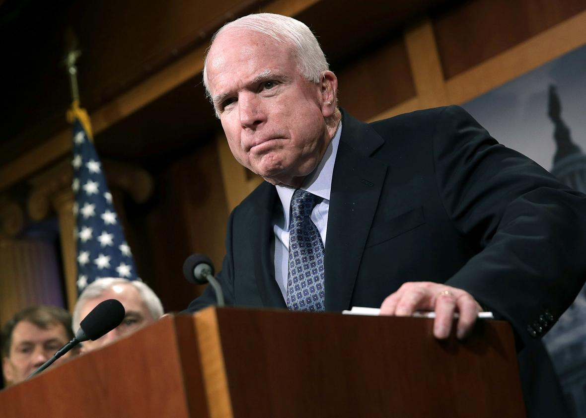 WASHINGTON, DC - FEBRUARY 05: Sen. John McCain (R-AZ) speaks during a press conference at the U.S. Capitol February 5, 2015 in Washington, DC. McCain and a group of bipartisan senators spoke out in favor of arming Ukrainians in their conflict with Russia. (Photo by Win McNamee/Getty Images)