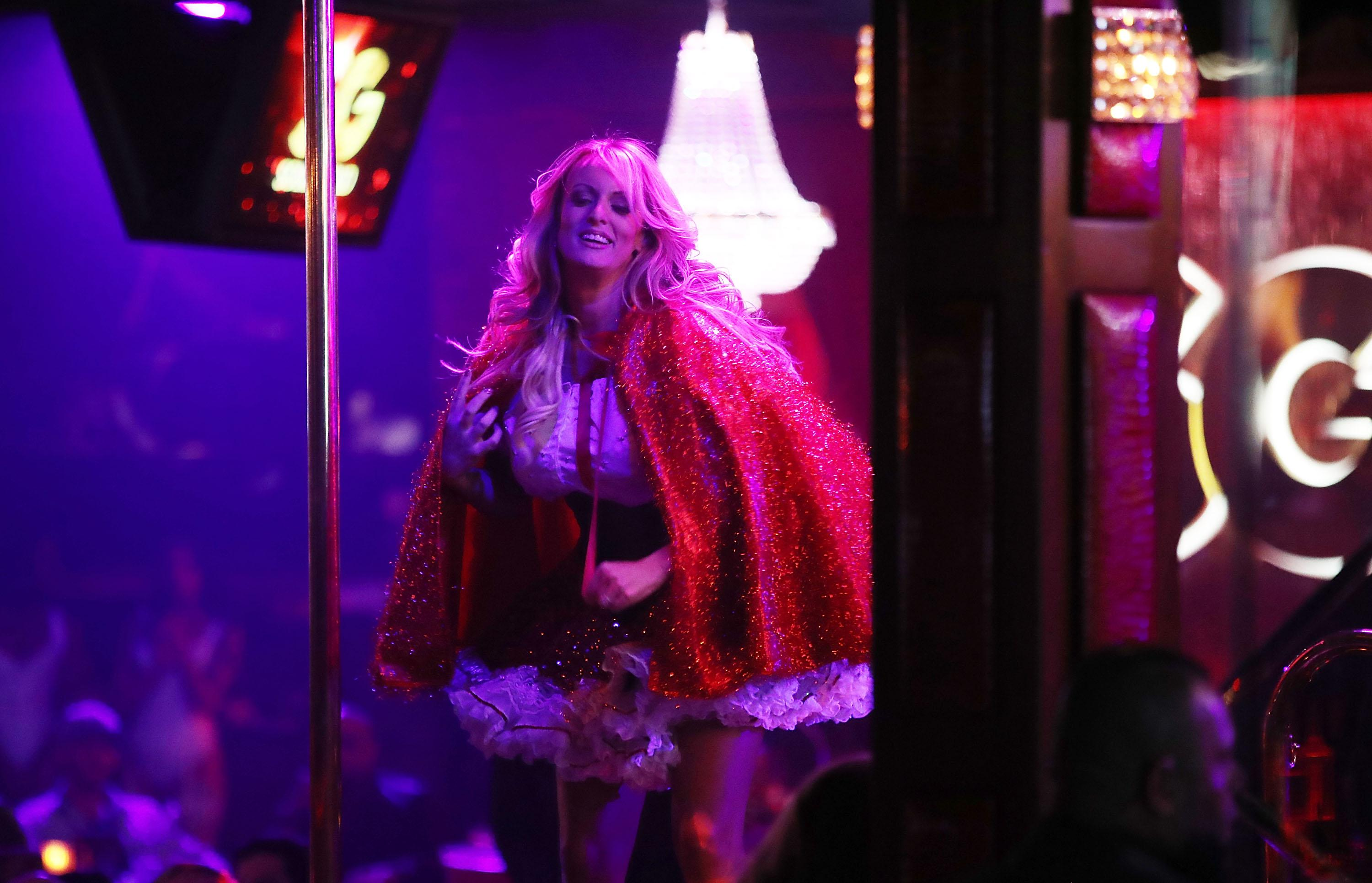 The actress Stephanie Clifford, who uses the stage name Stormy Daniels, performs at the Solid Gold Fort Lauderdale strip club on March 9, 2018 in Pompano Beach, Florida.