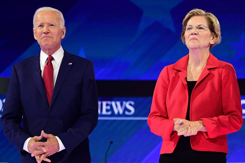 Joe Biden and Elizabeth Warren onstage.