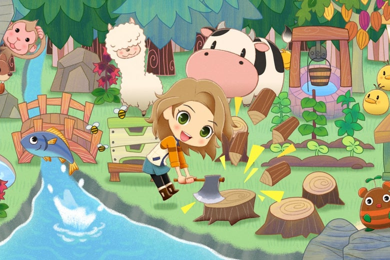 A young woman chops wood on a farm by a stream, surrounded by fish, a cow, and an alpaca.