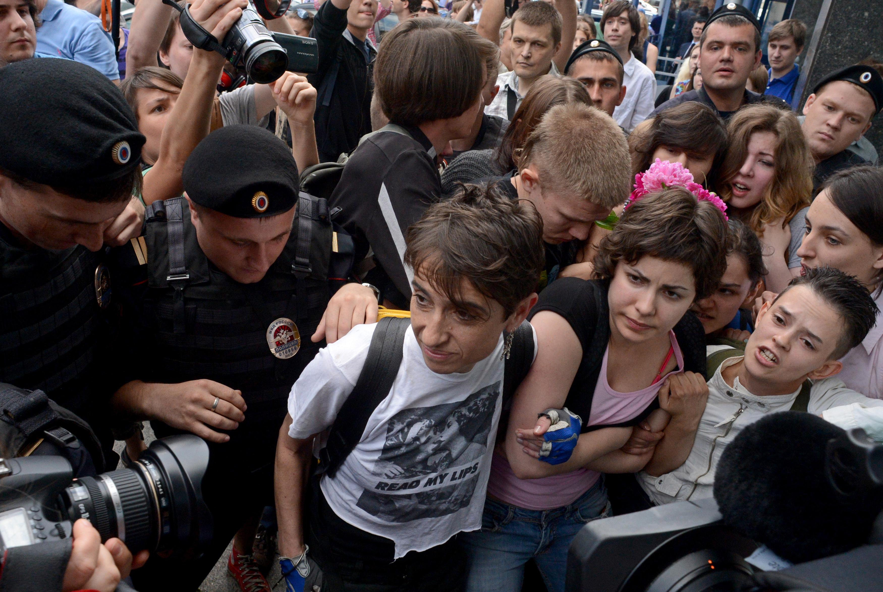 Masha Gessen (center in white T-shirt) and other protestors outside the State Duma, in Moscow, on June 11, 2013.