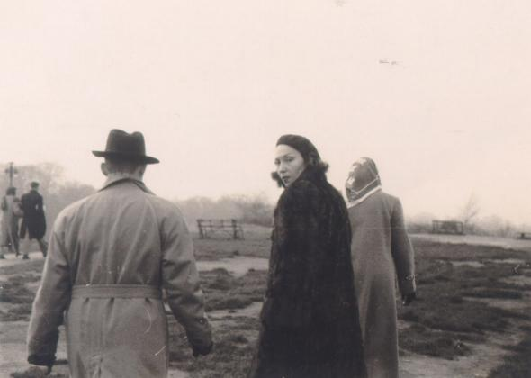 Clarice Lispector, walking up Vesuvius in Italy with her husband, circa 1945.