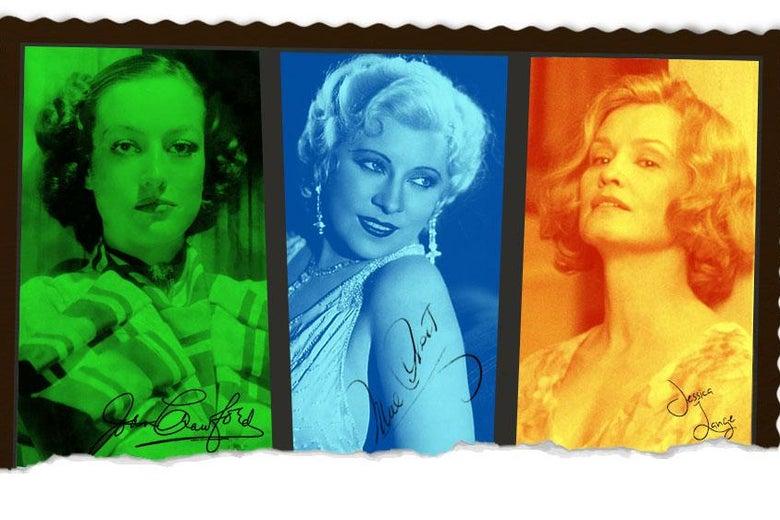 Joan Crawford, Mae West, and Jessica Lange