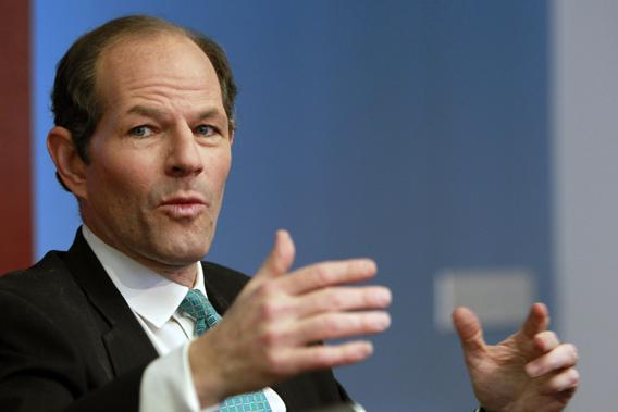 Former New York governor Eliot Spitzer speaks at the Reuters Global Financial Regulation Summit 2010 in New York April 28, 2010.