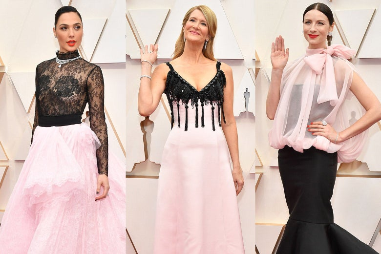 Collage of Gal Gadot, Laura Dern, and Caitriona Balfe wearing pink and black on the red carpet at the Oscars.