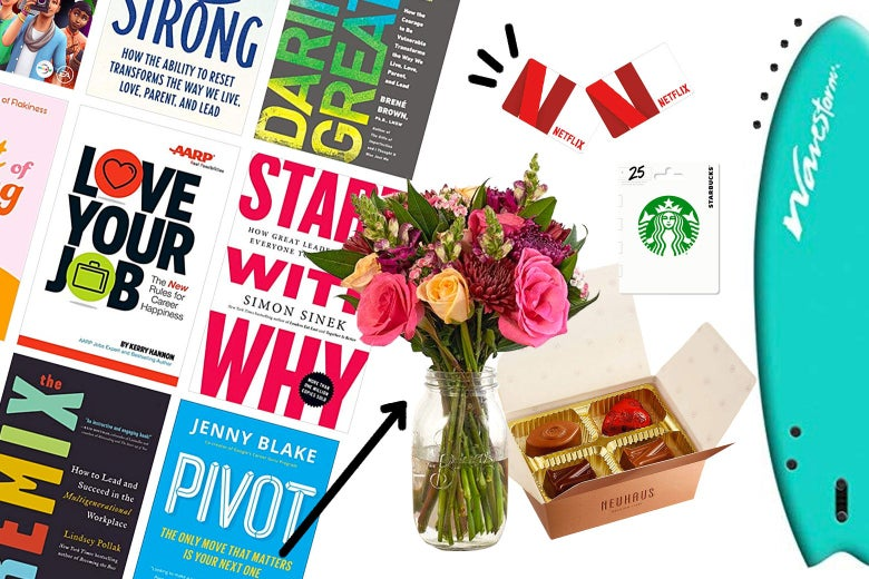 An arrangement of book, flowers, chocolates, and Starbucks and Netflix gift cards, along with a surfboard