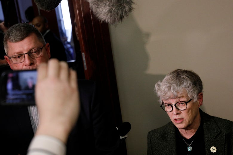 Michigan State president Lou Anna Simon outside Larry Nassar's sentencing hearing on Wednesday in Lansing, Michigan.