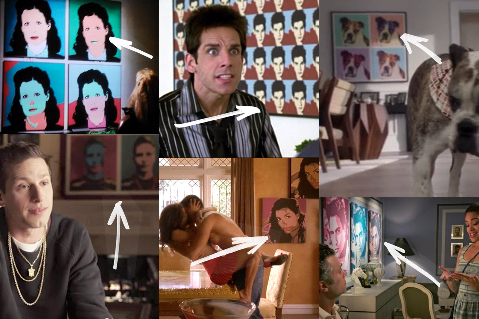 Movie scenes with Warhol-style portraits in the background.
