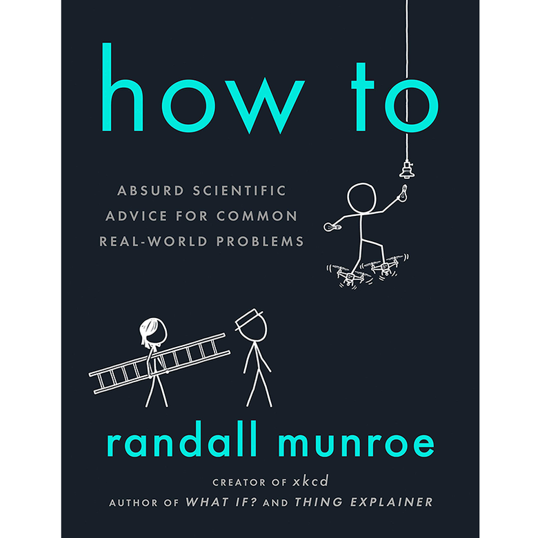 Cover: One female-looking stick figure carries a ladder while seemingly following a stick figure wearing a hat; a third stick figure stands on two drones while trying to replace a lightbulb.