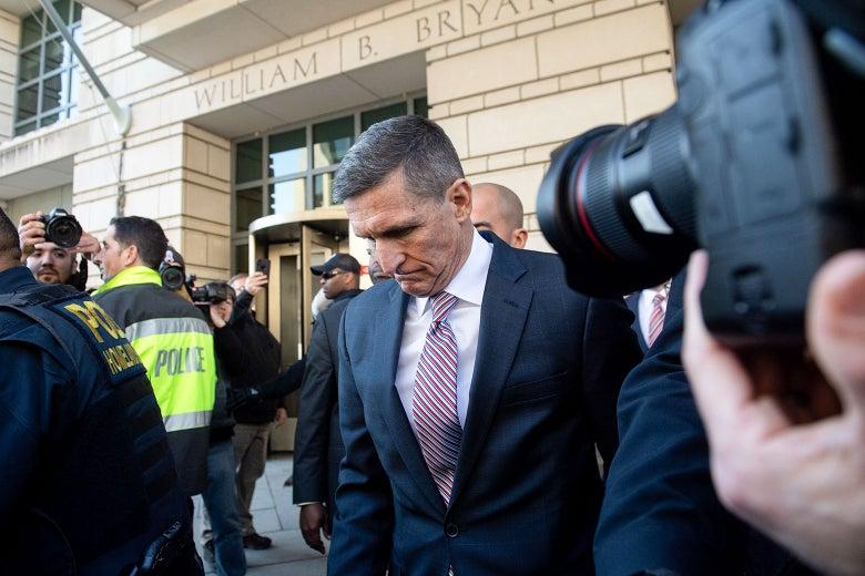 Michael Flynn leaving court in Washington, DC.