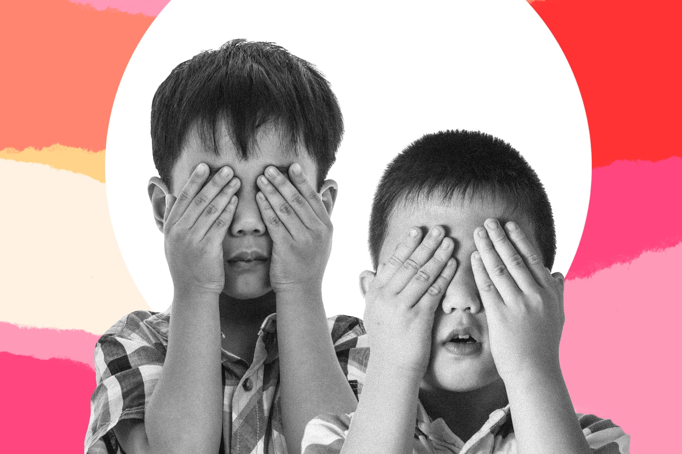 Photo illustration of two boys covering their eyes.
