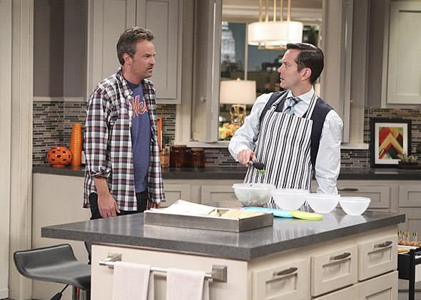Matthew Perry and Thomas Lennon in The Odd Couple.