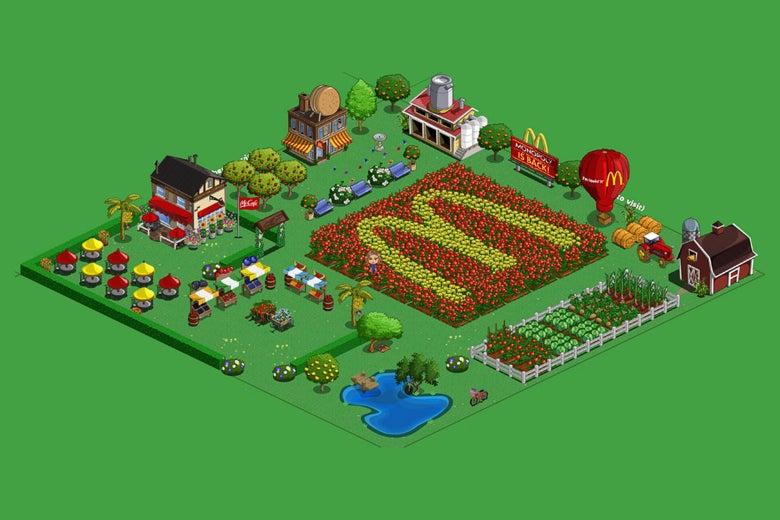 A screenshot of a McDonald's-themed farm in Farmville.
