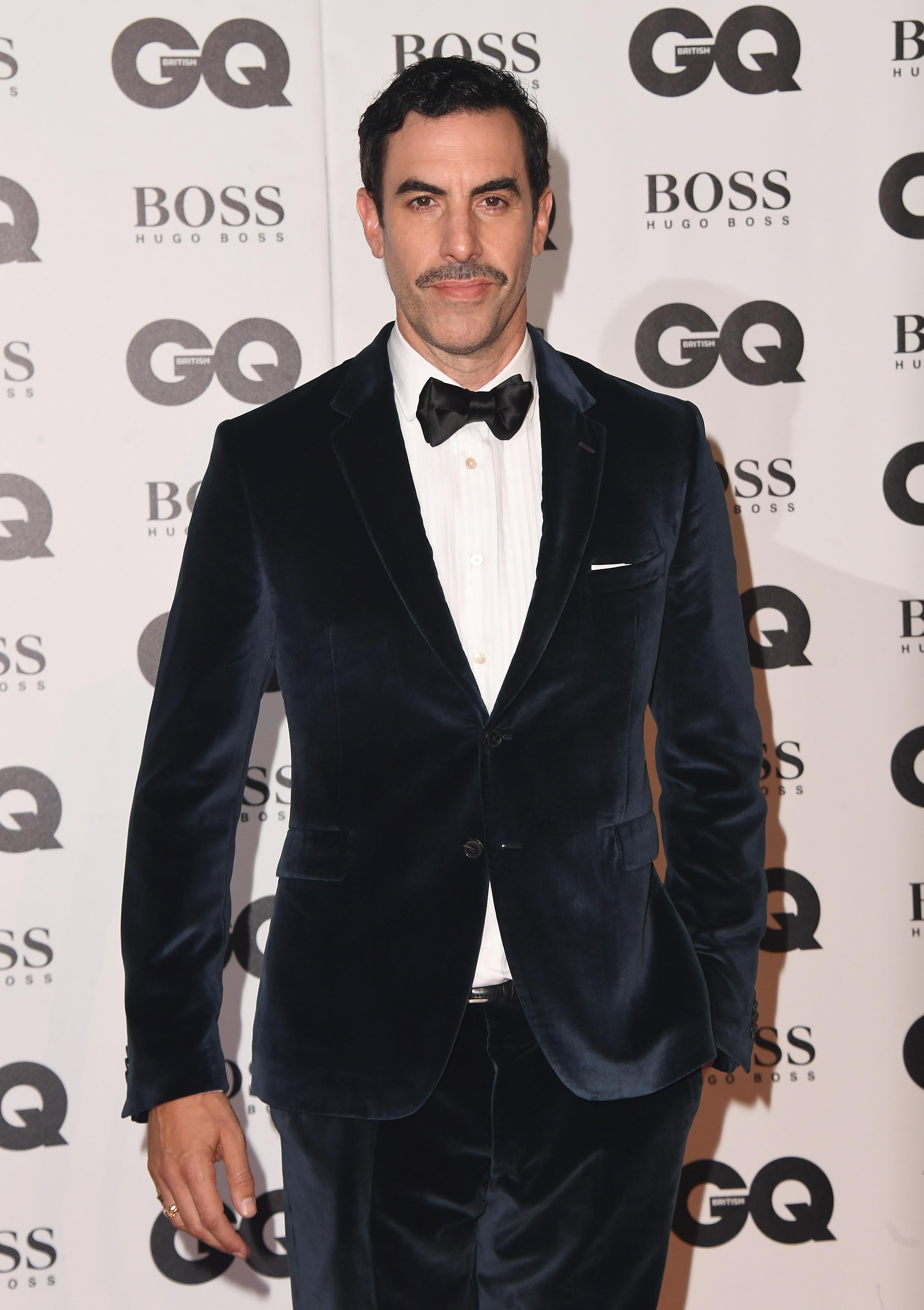 Sacha Baron Cohen in a tuxedo.