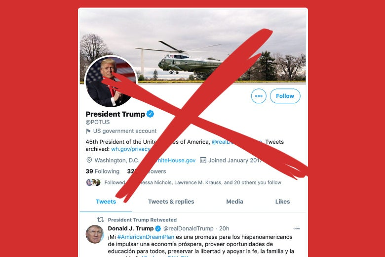 A red X over Donald Trump's Twitter profile