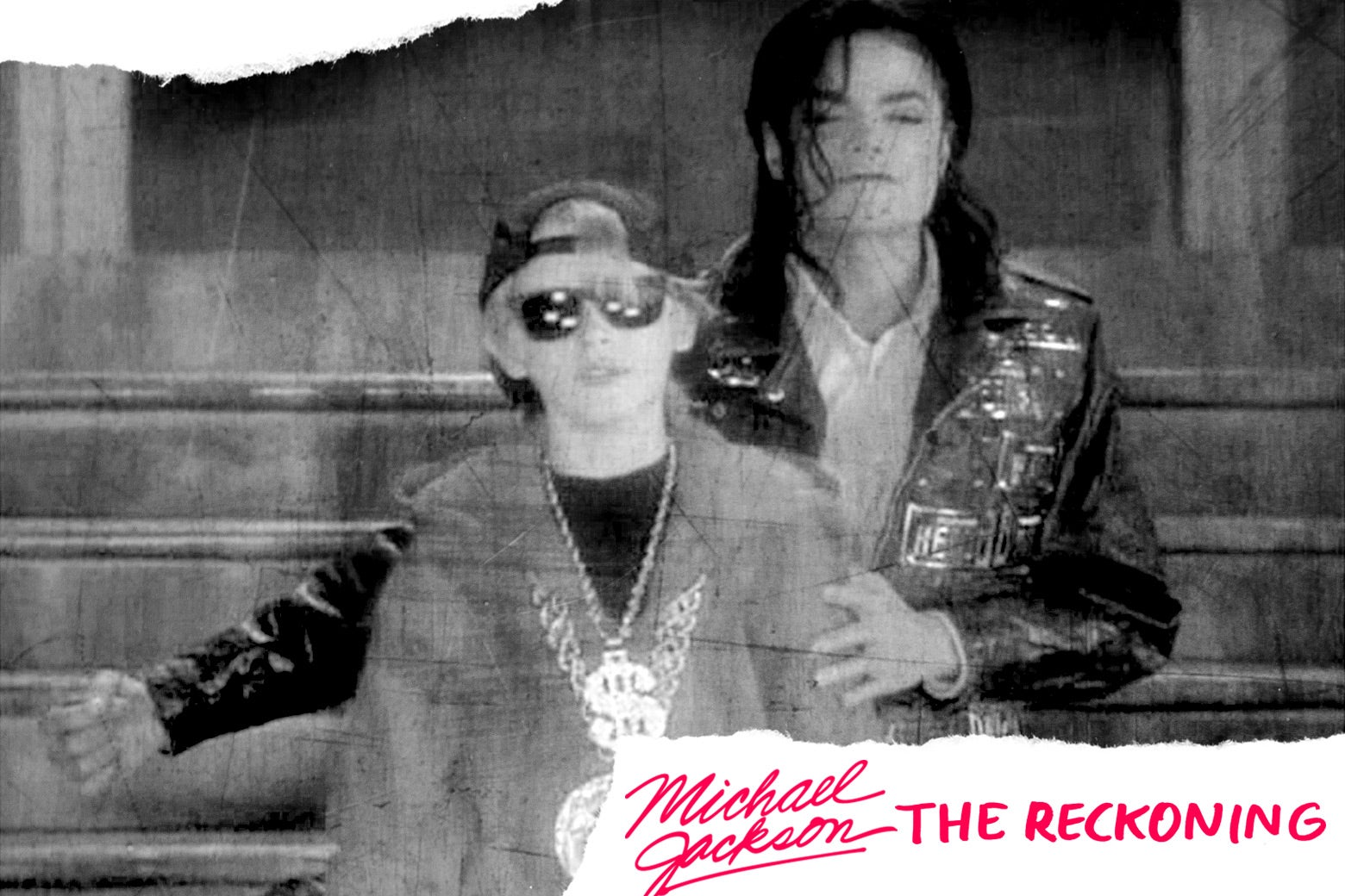 "Michael Jackson with Macaulay Culkin in the video for ""Black Or White."""