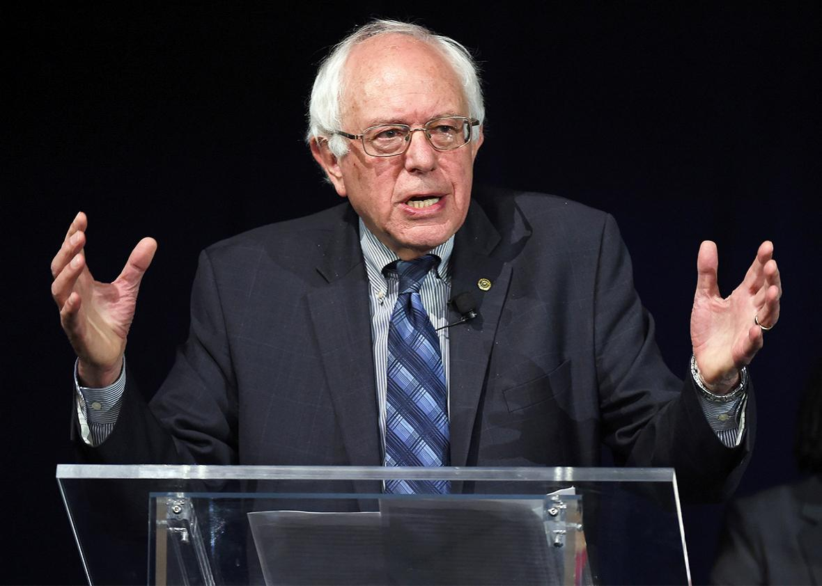 Democratic presidential candidate Sen. Bernie Sanders (I-VT) speaks at a forum organized by the Fair Immigration Reform Movement .