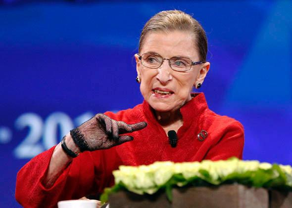 "Justice Ruth Bader Ginsburg speaks during the lunch session of ""The Women's Conference 2010"" in Long Beach, California, October 2010."