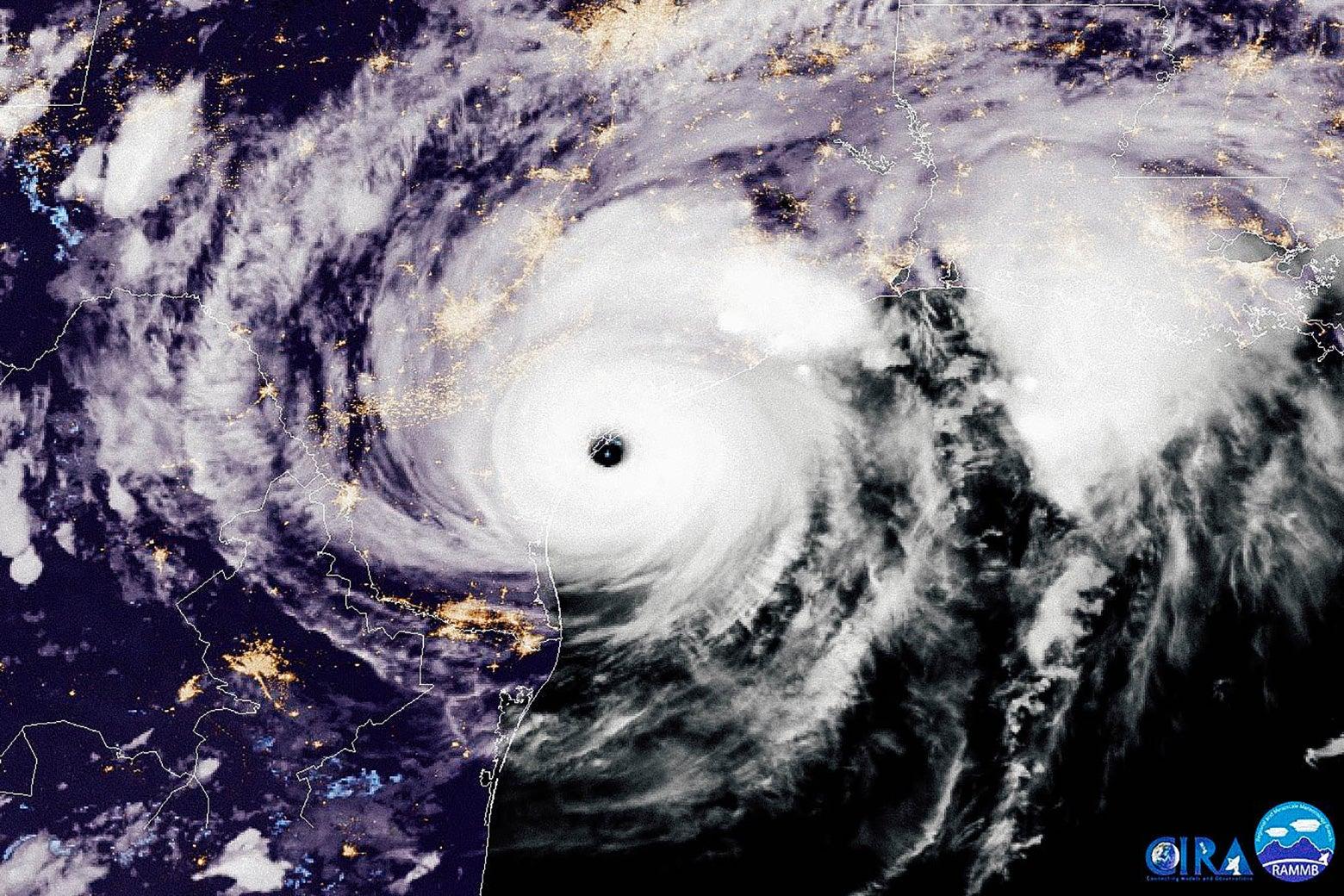 Satellite image of Hurricane Harvey.