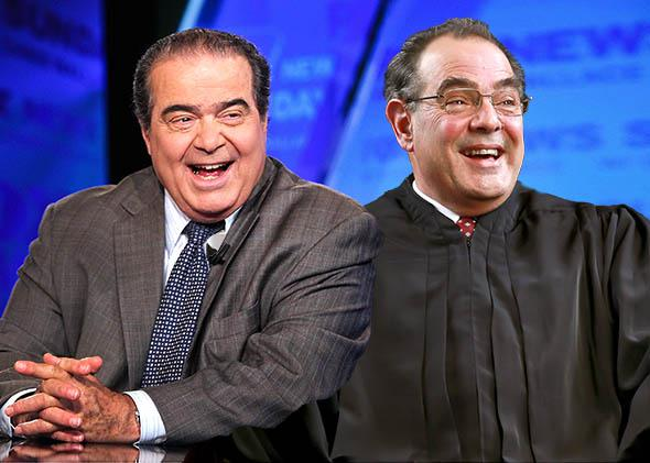 Supreme Court Justice Antonin Scalia and actor Edward Gero.