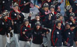 Members of the United States Olympic team wave to the crowd during the Opening Ceremony of the 2010 Vancouver Winter Olympics at BC Place on February 12, 2010 in Vancouver, Canada.