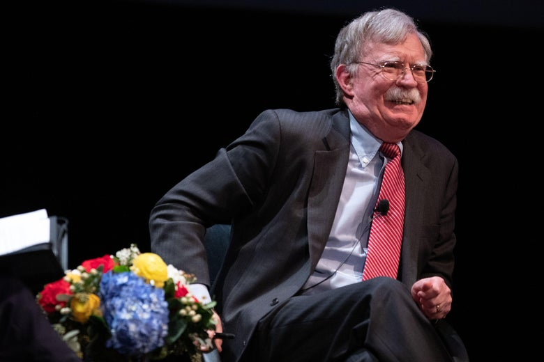 Former National Security adviser John Bolton speaks on stage during a public discussion at Duke University in Durham, North Carolina on February 17, 2020.