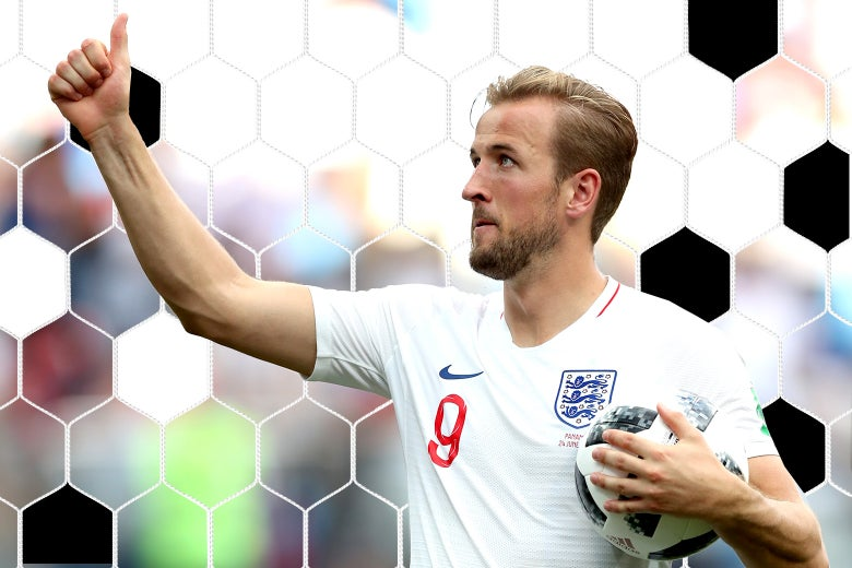 Harry Kane of England is seen with the match ball at the World Cup.