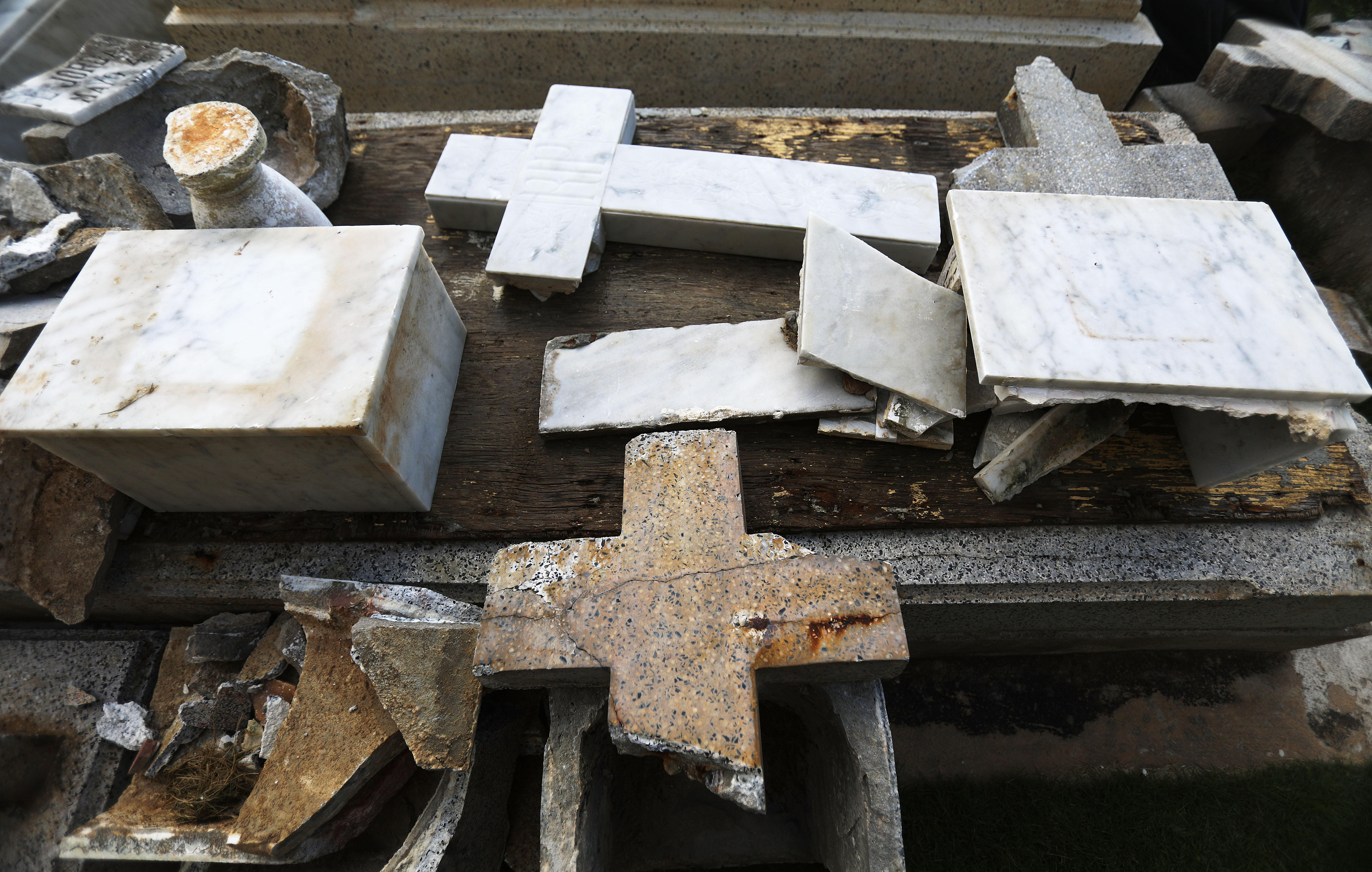 Toppled gravestones in a Puerto Rico cemetary