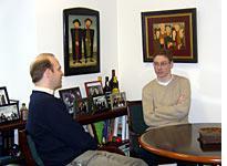 Alex Brideau (glasses) and Alec Alenstein, talking Russia