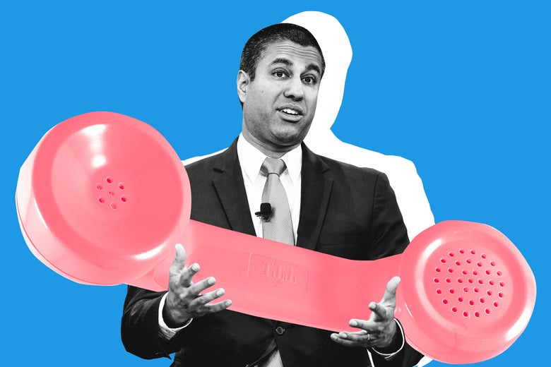 Ajit Pai holding a giant phone receiver.